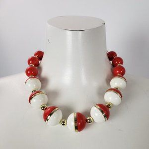 Vintage Red & White Beaded Pokemon Necklace